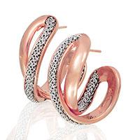 Позолоченные серьги-петли Adami & Martucci с серебряной сеткой, фото