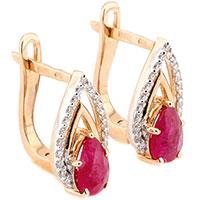 Серьги с рубином и бриллиантами из красного золота, фото
