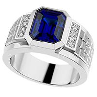 Мужской перстень Zancan Couture Sapphir с синим сапфиром, фото
