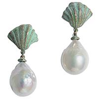 Крупные серьги rockah. Siren's Treasures из ювелирной бронзы в патине с барочными жемчужинами, фото