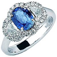 Кольцо-перстень Mirco Visconti из белого золота с сапфиром, фото