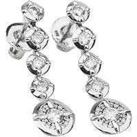 Золотые серьги-подвески с бриллиантами, фото