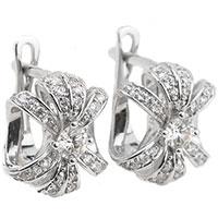 Серьги в форме цветка с белыми бриллиантами, фото