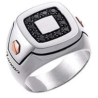 Мужской перстень Zancan Z-Luxe из серебра и золота, фото