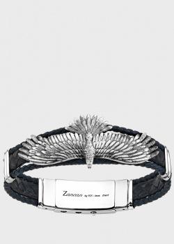 Кожаный браслет Zancan Vintage с серебряным орланом, фото