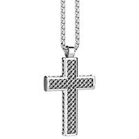 Серебряная подвеска-крестик Zancan Cosmopolitan с эффектом плетения, фото