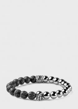 Мужской браслет Maria Cristina Sterling Skull из серебра и лавы, фото