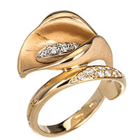 Кольцо Anna Maria Cammilli Calla в форме цветка и бриллиантами, фото
