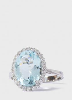 Золотой перстень Gemmis с аквамарином 3,46ct и бриллиантами, фото