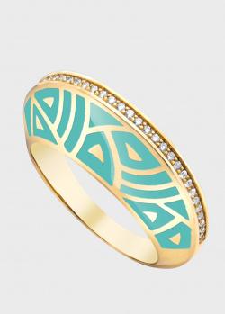 Золотое кольцо Gratus Grace Kelly с бирюзовой эмалью, фото
