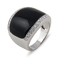 Кольцо из белого золота с агатом и бриллиантами, фото