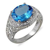 Кольцо из белого золота с бриллиантами и топазом, фото