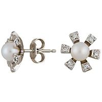 Серьги из белого золота с бриллиантами и жемчугами (пресноводными), фото