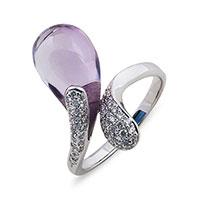 Кольцо из белого золота с аметистом и бриллиантами, фото