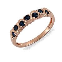 Кольцо из красного золота с сапфирами, фото