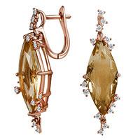 Серьги из красного золота с бриллиантами и цитринами, фото
