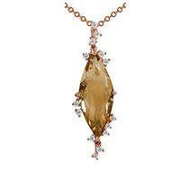 Кулон из красного золота с бриллиантами и цитрином, фото
