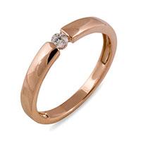 Кольцо из красного золота с бриллиантом, фото