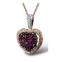 Кулон из красного золота с бриллиантами и рубинами, фото