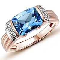 Кольцо из красного золота с бриллиантами и топазом, фото