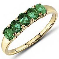 Кольцо из красного золота с изумрудами, фото