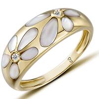 Кольцо из желтого золота с бриллиантами и перламутром, фото