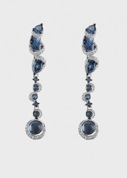 Серьги-подвески с синими топазами и белыми бриллиантами , фото