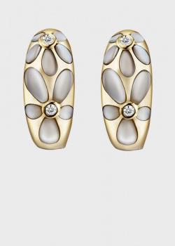 Серьги из желтого золота с бриллиантами и перламутром, фото