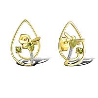 Серьги из желтого золота с бриллиантами и перидотами, фото