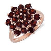 Кольцо из красного золота с гранатами, фото