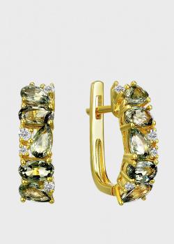 Серьги-дорожка из желтого золота с сапфирами общим весом 2.856 ct, фото