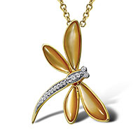 Кулон из желтого золота с бриллиантами и перламутром, фото