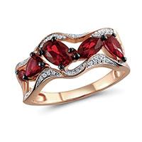 Кольцо из красного золота с бриллиантами и гранатами, фото