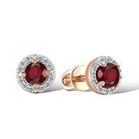 Серьги из красного золота с бриллиантами и гранатами, фото