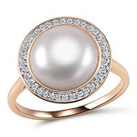 Кольцо из красного золота с бриллиантами и жемчугом (пресноводным), фото