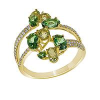 Кольцо из желтого золота с бриллиантами и топазами, фото