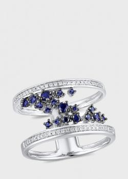 Широкое кольцо с бриллиантами 0,17ct и сапфирами 0,38ct, фото