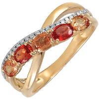 Кольцо из желтого золота с бриллиантами и сапфирами, фото