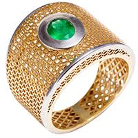 Кольцо из красного золота с изумрудом, фото