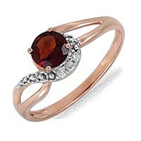 Кольцо из красного золота с бриллиантами и гранатом, фото