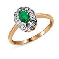 Кольцо из золота с бриллиантами и изумрудом, фото