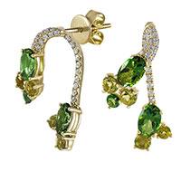 Серьги из желтого золота с бриллиантами и топазами, фото