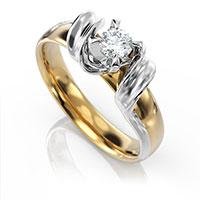 Кольцо из золота с бриллиантом, фото