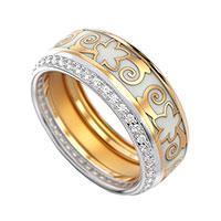 Кольцо из красного золота с бриллиантами и эмалью, фото