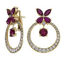 Серьги из желтого золота с бриллиантами и рубинами, фото