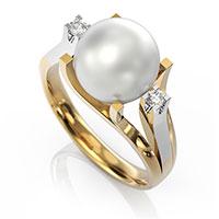 Кольцо из красного золота с бриллиантами и жемчугом, фото