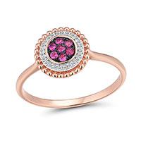 Кольцо из красного золота с бриллиантами и рубинами, фото