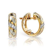 Серьги из красного золота с бриллиантами и эмалью, фото