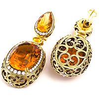 Серьги из желтого золота с бриллиантами и цитринами, фото