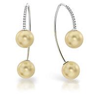 Серьги из белого золота с бриллиантами и жемчугами, фото